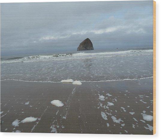 Haystack Rock Wood Print