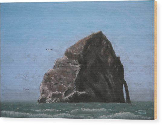Haystack Rock  Wood Print by Carl Capps