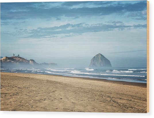 Haystack Rock Pacific City Wood Print