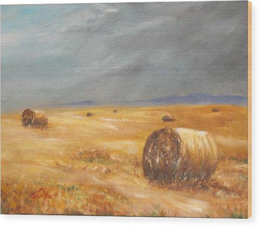 Haystacks After The Rain Wood Print by Rusty W Hinshaw
