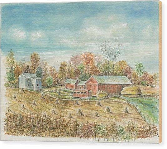 Haystacks At The Farm Wood Print by Samuel Showman