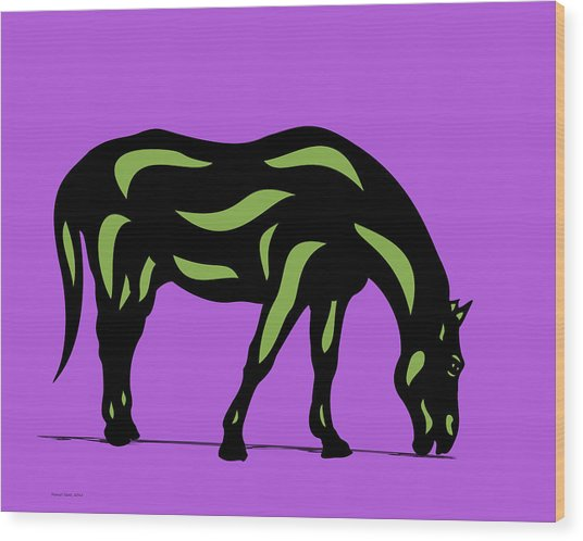 Hazel - Pop Art Horse - Black, Greenery, Purple Wood Print