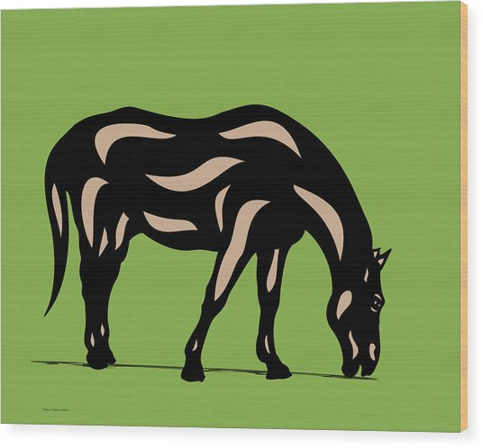 Hazel - Pop Art Horse - Black, Hazelnut, Greenery Wood Print