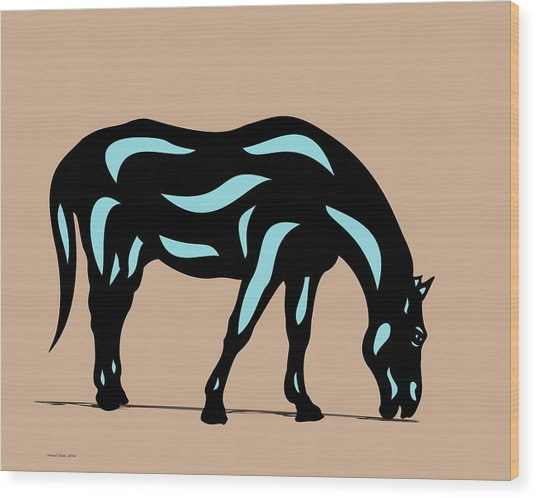 Hazel - Pop Art Horse - Black, Island Paradise Blue, Hazelnut Wood Print