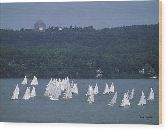 Hazy Day Regatta - Lake Geneva Wisconsin Wood Print