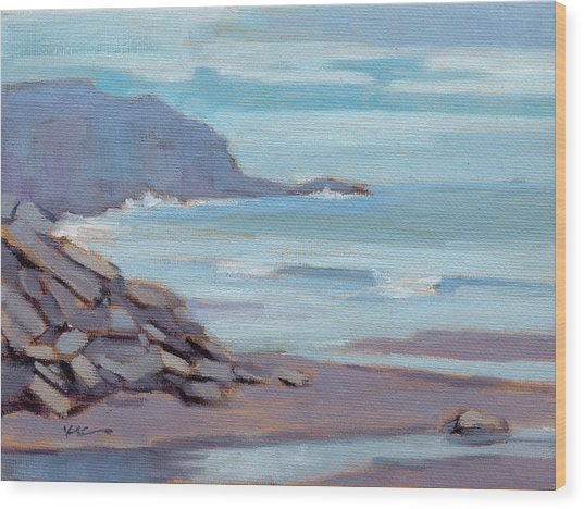 Wood Print featuring the painting Hazy Morning At Moro Beach  by Konnie Kim