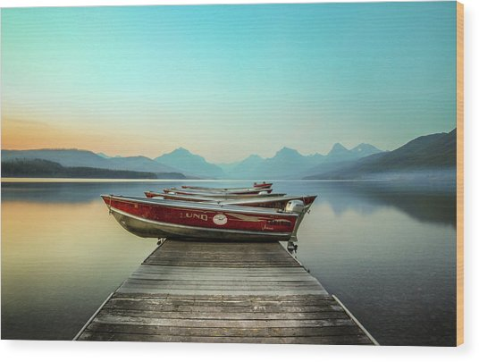 Hazy Reflection // Lake Mcdonald, Glacier National Park Wood Print