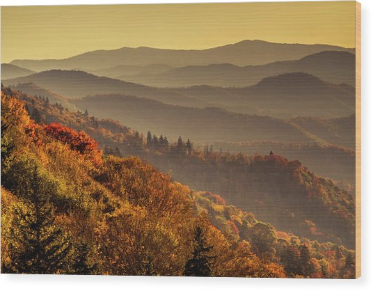 Hazy Sunny Layers In The Smoky Mountains Wood Print