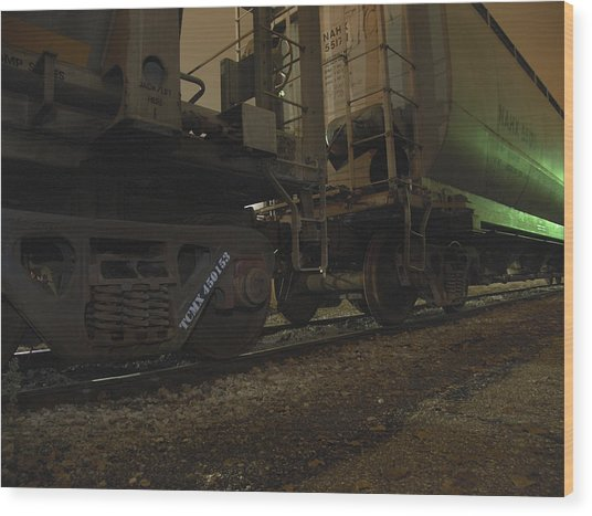 Hdr Rail Cars Wood Print by Scott Hovind