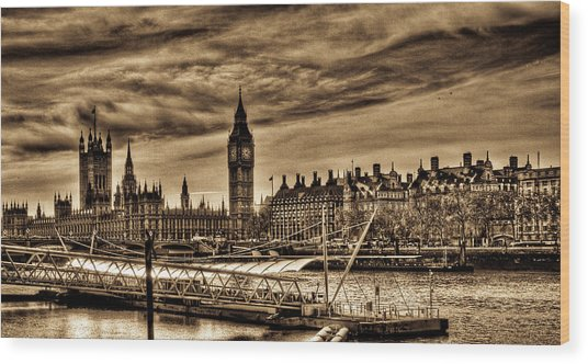 Hdr Sepia Westminster Wood Print