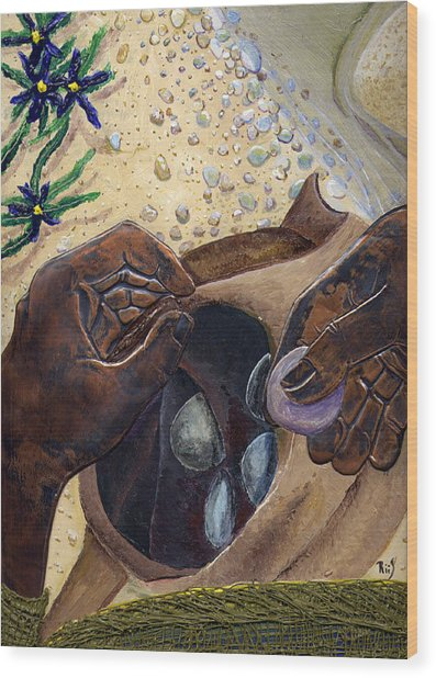 He Chose Him Five Smooth Stones Wood Print by Dan RiiS Grife