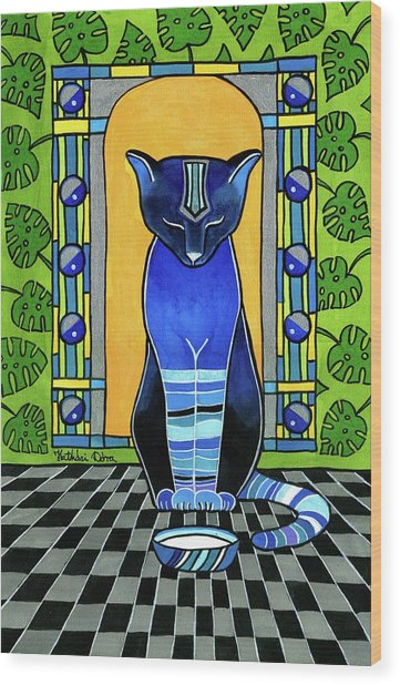 He Is Back - Blue Cat Art Wood Print