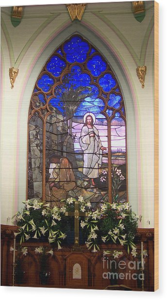 He Is Risen Stained Glass Window Wood Print