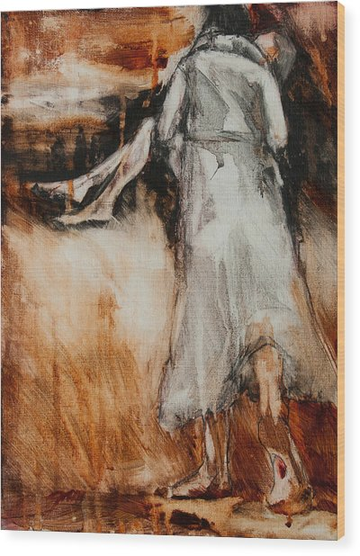 Wood Print featuring the painting He Walks With Me by Jani Freimann
