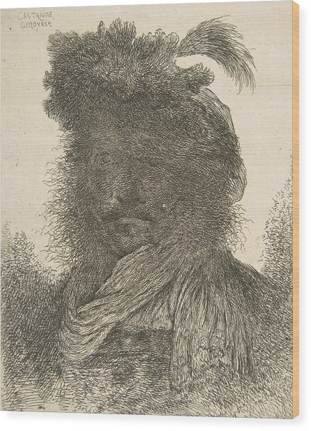 Head Of A Man In Shadow Turned Slightly To The Left Wood Print