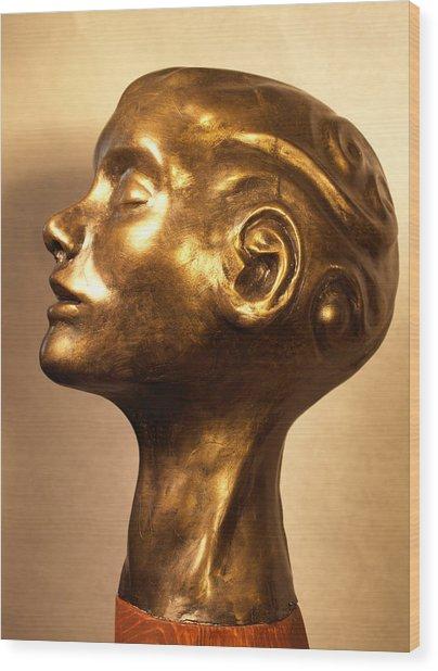 Head With Swirls View 1 Wood Print by Katherine Huck Fernie Howard