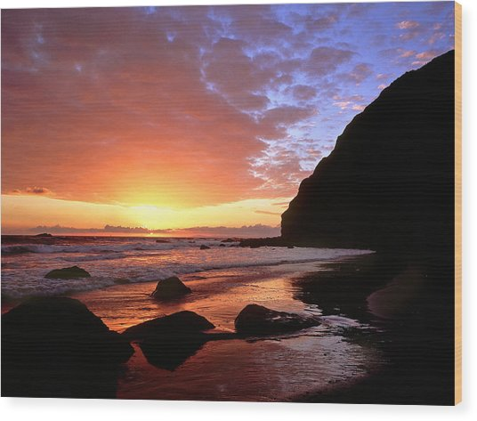 Headlands At Sunset Wood Print