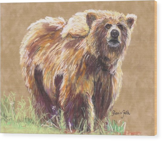 Healthy Brown Bear Wood Print by Gloria Smith