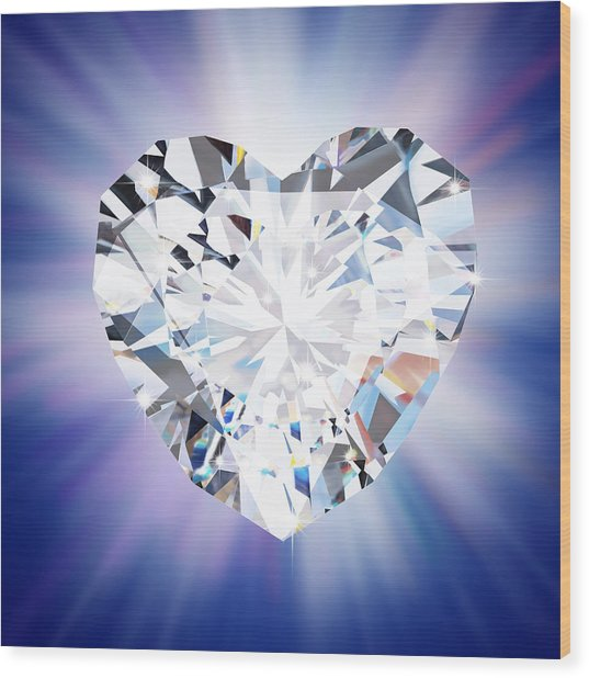 Heart Diamond Wood Print
