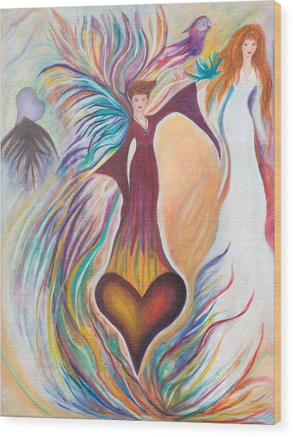 Heart Goddess Wood Print by Leti C Stiles