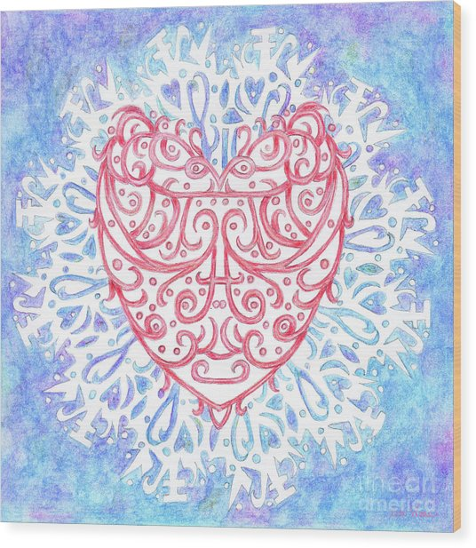 Heart In A Snowflake II Wood Print