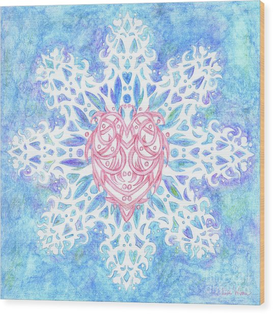 Heart In Snowflake Wood Print