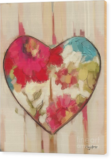 Heart In Stitches Wood Print