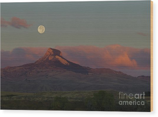 Heart Mountain And Full Moon-signed-#0273  #0273 Wood Print