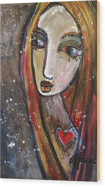 Wood Print featuring the painting Heart Of Gold by Laurie Maves ART