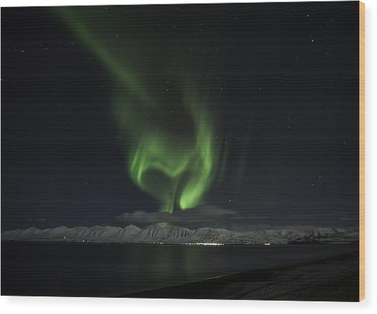 Heart Of Northern Lights Wood Print