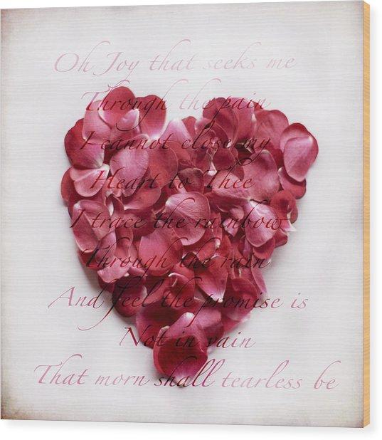 Heart Of Roses Wood Print