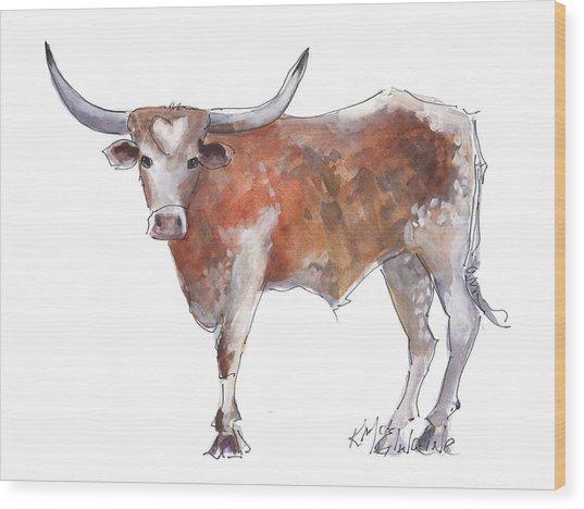 Heart Of Texas Longhorn Wood Print