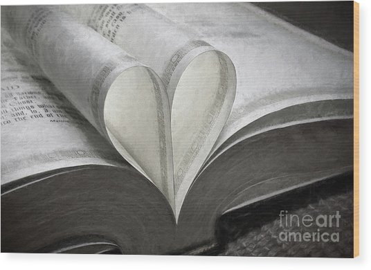 Heart Of The Book  Wood Print