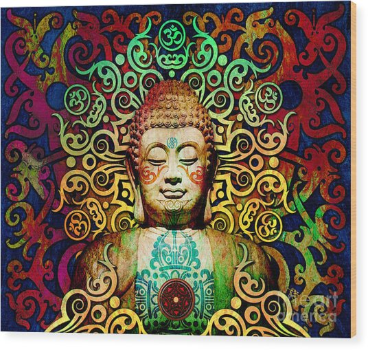Heart Of Transcendence - Colorful Tribal Buddha Wood Print