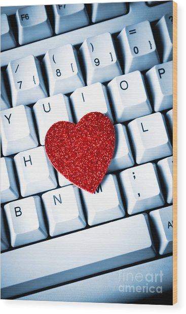 Heart On Keyboard Wood Print