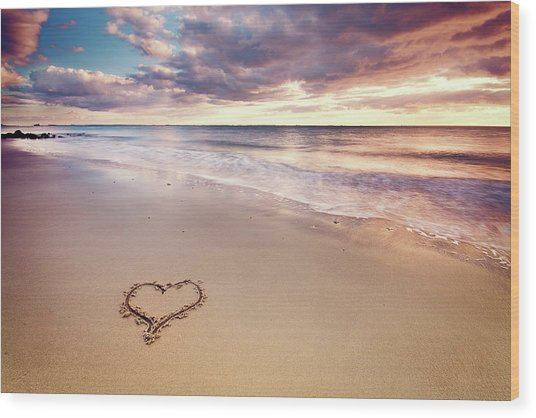 Heart On The Beach Wood Print