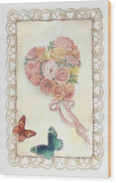 Heart Shape Bouquet With Butterfly Wood Print