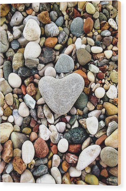 Heart-shaped Stone Wood Print