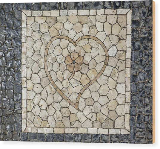 Heart Shaped Traditional Portuguese Pavement Wood Print