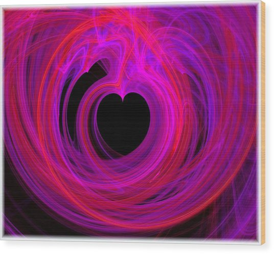 Heart Swirls Wood Print