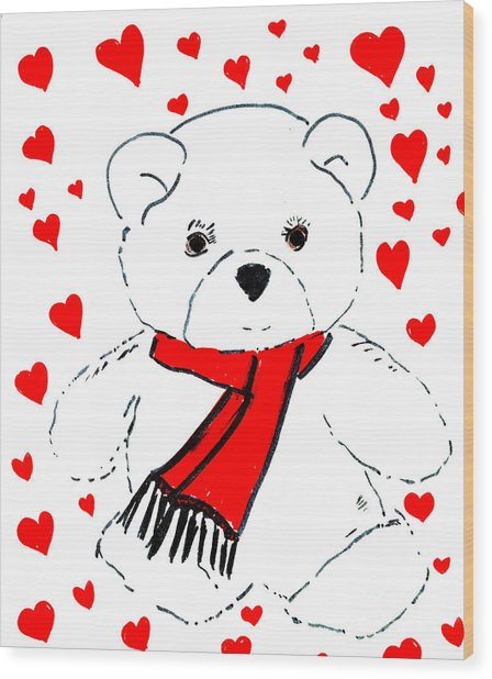 Heart Teddy Wood Print