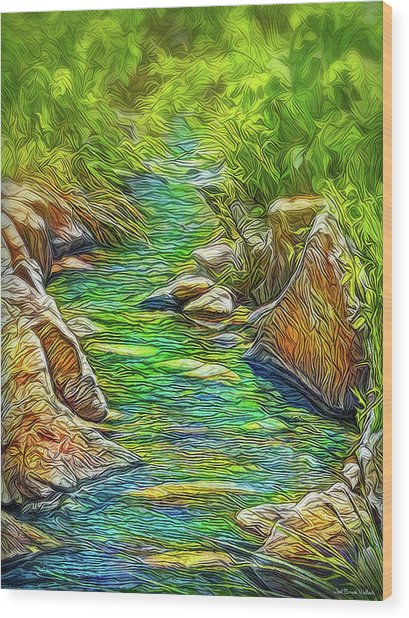Heartbeat Of A Stream Wood Print