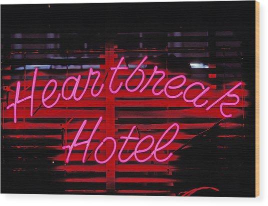 Heartbreak Hotel Neon Wood Print