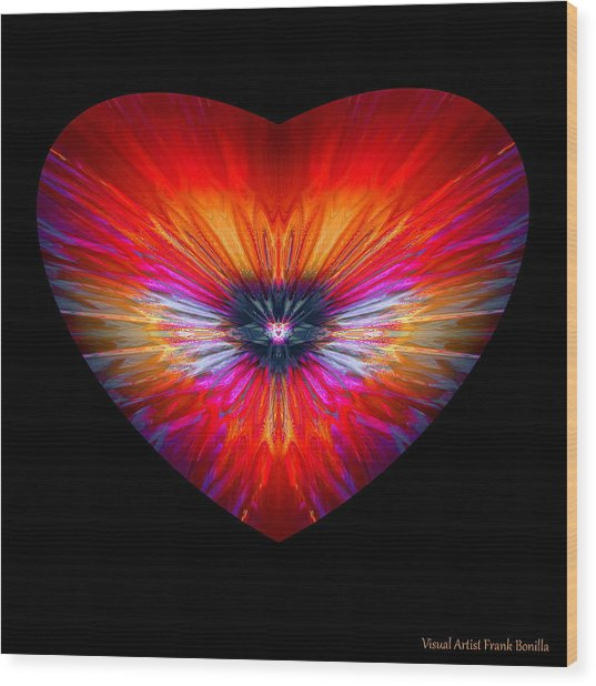 Wood Print featuring the digital art Hearts #26 by Visual Artist Frank Bonilla