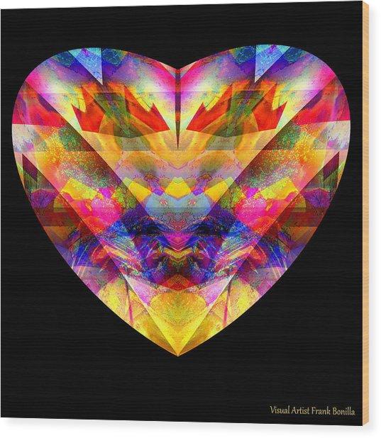 Wood Print featuring the digital art Hearts #27 by Visual Artist Frank Bonilla