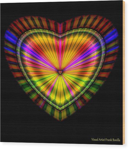 Wood Print featuring the digital art Hearts #9 by Visual Artist Frank Bonilla