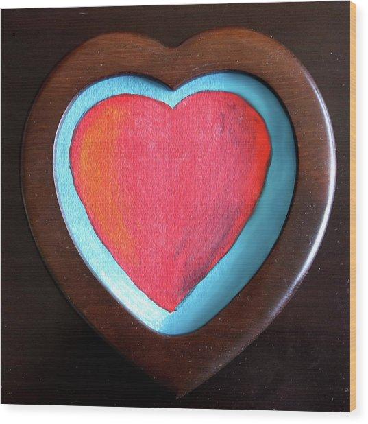 Hearts Afire Wood Print