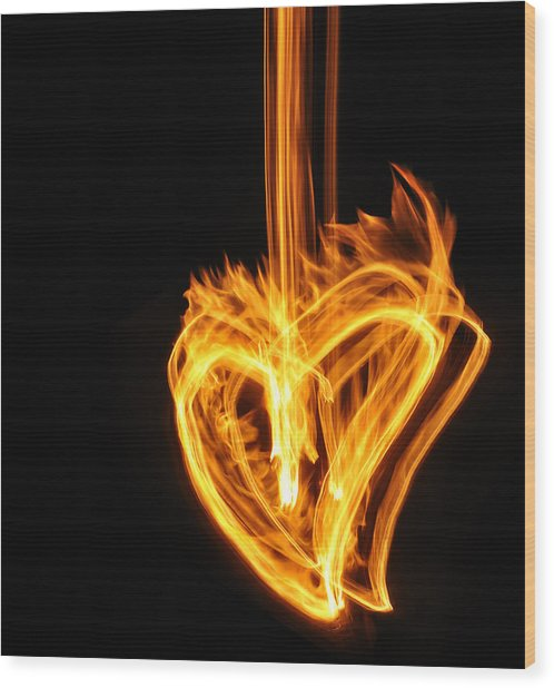 Hearts Aflame -falling In Love Wood Print