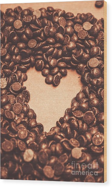Hearts And Chocolate Drops. Valentines Background Wood Print
