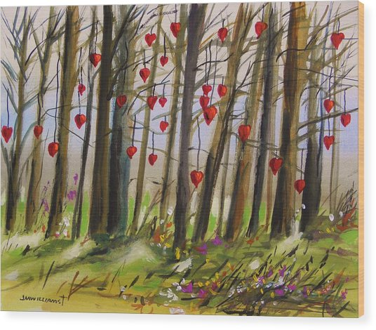 Hearts At Dusk Wood Print